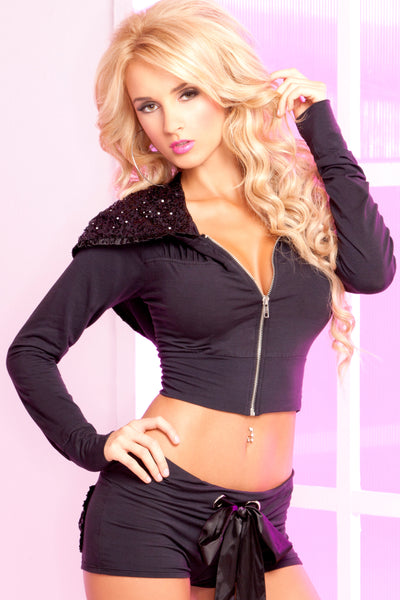 Pink Lipstick Lingerie 24006-BLK-Sparkle Sequin Cropped Hoodie-Front View