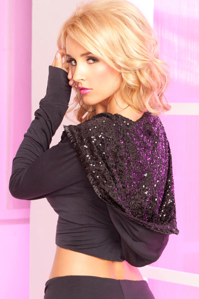Pink Lipstick Lingerie 24006-BLK-Sparkle Sequin Cropped Hoodie-Back View