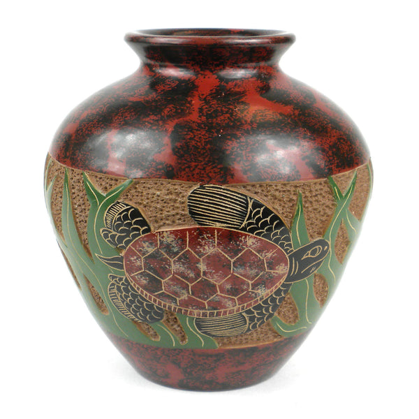 5 inch Tall Vase - Turtle Handmade and Fair Trade