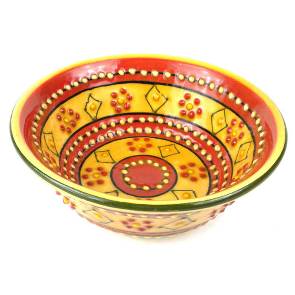 Hand-painted Round Bowl in Red Handmade and Fair Trade