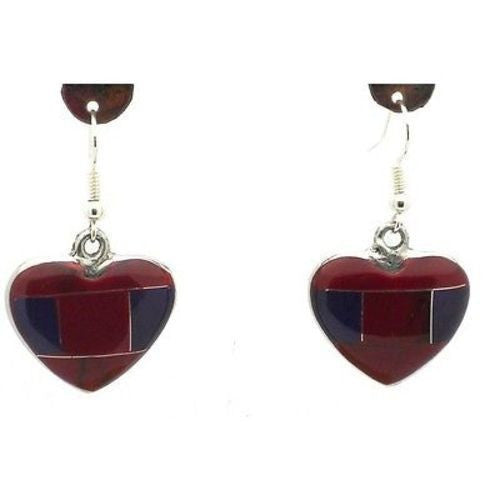 Red Jasper Heart Alpaca Silver Earrings Handmade and Fair Trade
