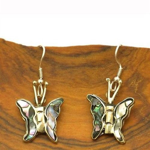 Abalone and Alpaca Silver Butterfly Earrings Handmade and Fair Trade