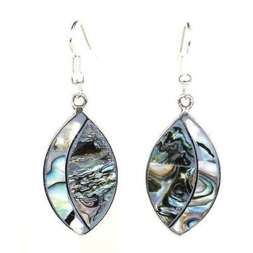 Alpaca Silver Abalone Ellipse Earrings Handmade and Fair Trade