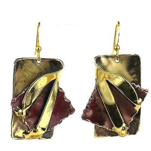 Layered Leaf Copper and Brass Earrings Handmade and Fair Trade
