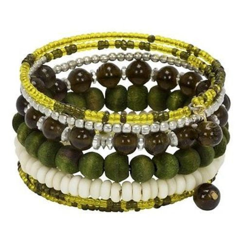 Olive Seeds of Life Spiral Bracelet Handmade and Fair Trade