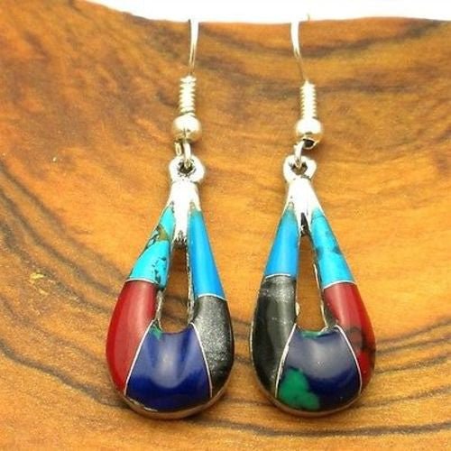 Alpaca Silver Turquoise and Stone Drop Earrings Handmade and Fair Trade