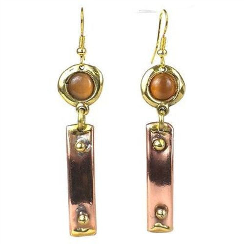 Riveting Copper and Tiger Eye Brass Earrings Handmade and Fair Trade