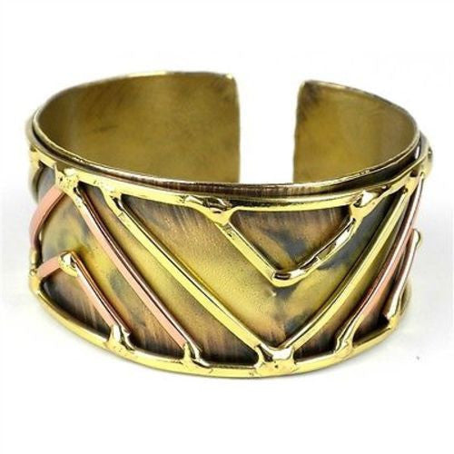 Brass on Brass Geometric Cuff Handmade and Fair Trade