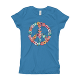 Girl's Peace & Flowers Fashion T-Shirt