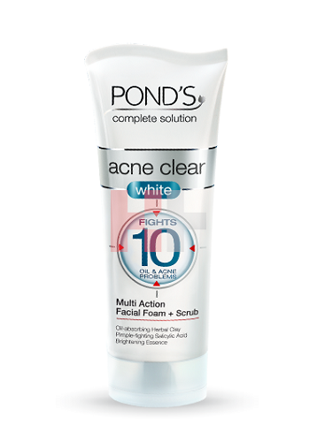 Pond's Acne Clear White Multi Action Facial Foam Plus Scrub 100g