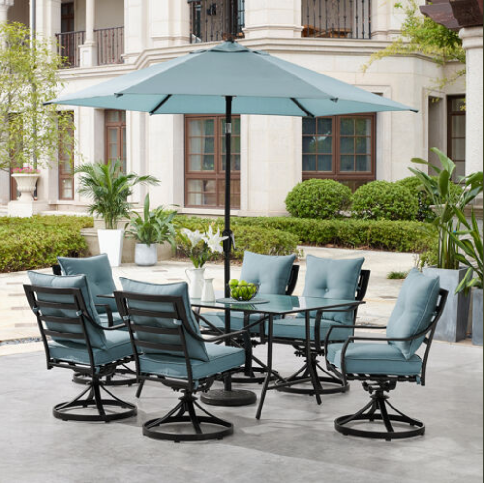 Marvelous Hanover Lavallette 7 Piece Dining Set In Ocean Blue With 6 Swivel Rockers Andrewgaddart Wooden Chair Designs For Living Room Andrewgaddartcom