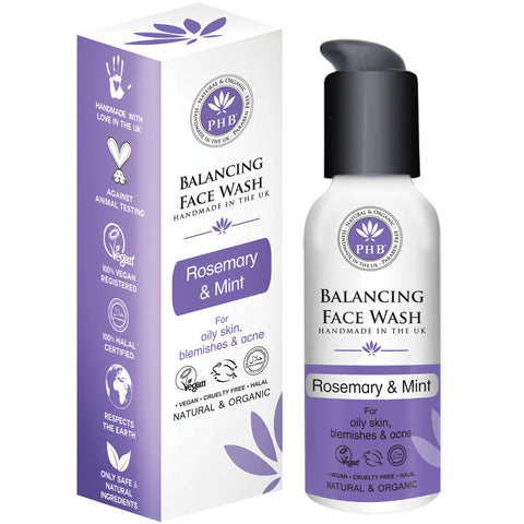 PHB Ethical Beauty Balancing Facial Wash with Rosemary & Mint (100ml) - Melariche