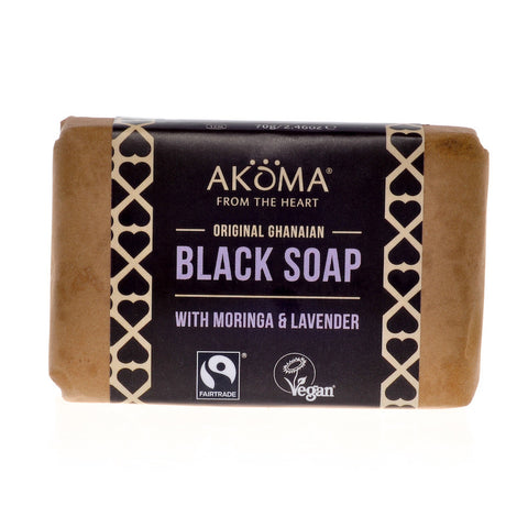 Akoma Black Soap Enriched with Moringa, Neem and Lavendar (70g) - Melariche