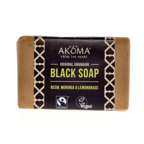 Akoma Black Soap Enriched with Moringa, Neem and Lemongrass (70g) - Melariche