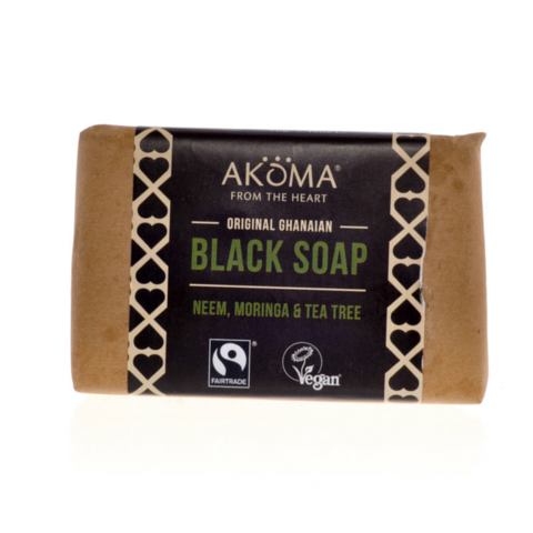 Akoma Black Soap Enriched with Moringa, Neem and Tea Tree (70g) - Melariche