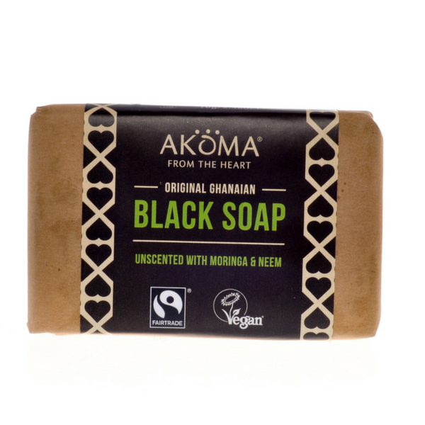 Akoma Black Soap Enriched with Moringa and Neem UNSCENTED (70g) - Melariche
