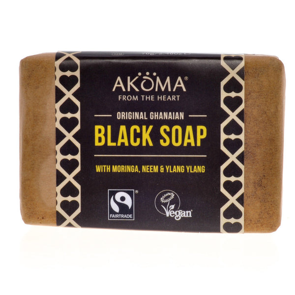 Akoma Black Soap Enriched with Moringa, Neem and Ylang Ylang (70g) - Melariche