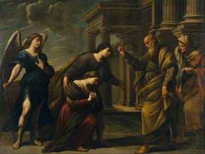 Painting by Andrea_Vaccaro_-_Raguel's_Blessing_of_her_Daughter_Sarah_before_Leaving_Ecbatana_with_Tobias_-_Google_Art_Project-publicdomain