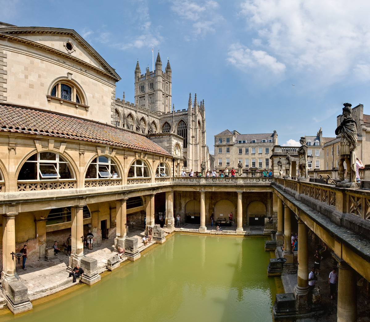 "Roman Baths Bath Spa England 2006 Wiki Creative Licnese ""Photo by DAVID ILIFF. License: CC-BY-SA 3.0"""