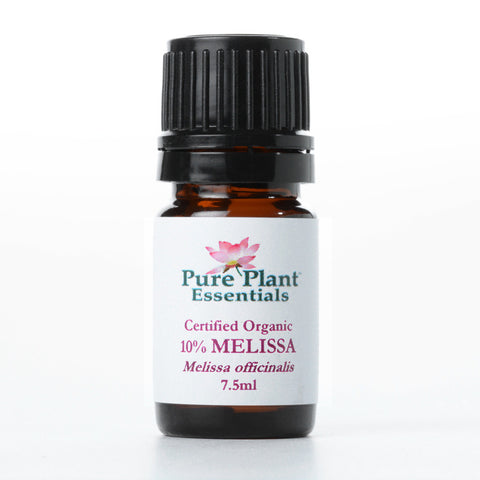 Melissa, Melissa Officianalis - Steam Distilled Leaves (Certified Organic), England - 10% Dilution Light Coconut Oil-Single Pure Essential Oil-PurePlant Essentials