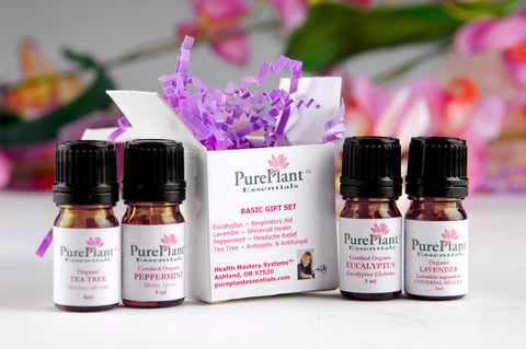 Essential Oils Basic Gift Set -- (4-Oils) Lavender, Peppermint, Eucalyptus, Tea Tree -- (BUY SET & SAVE)-Essential Oil Kit-PurePlant Essentials