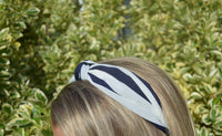 Blue and White Striped Headband