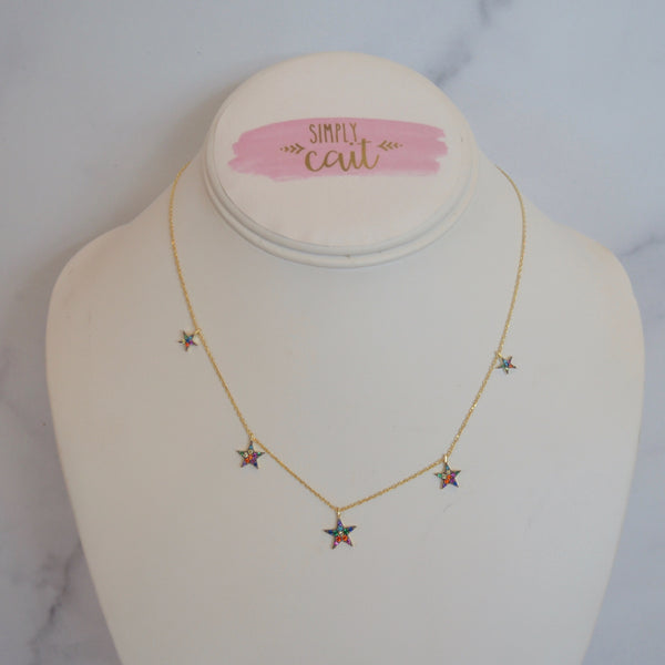 Dangling Rainbow Stars Necklace