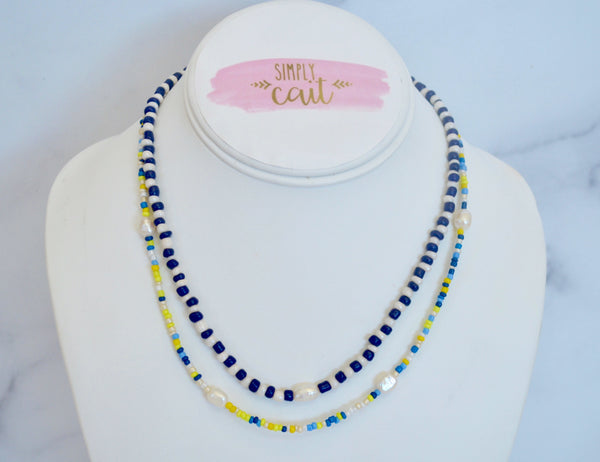 Double Layer Beaded Pearl Necklace (Lime)