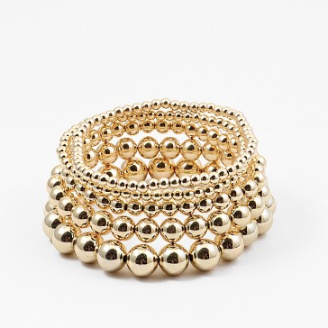 Shiny Gold Bead Stack Bracelet