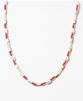 Pearl x Red x Gold Bead Necklace