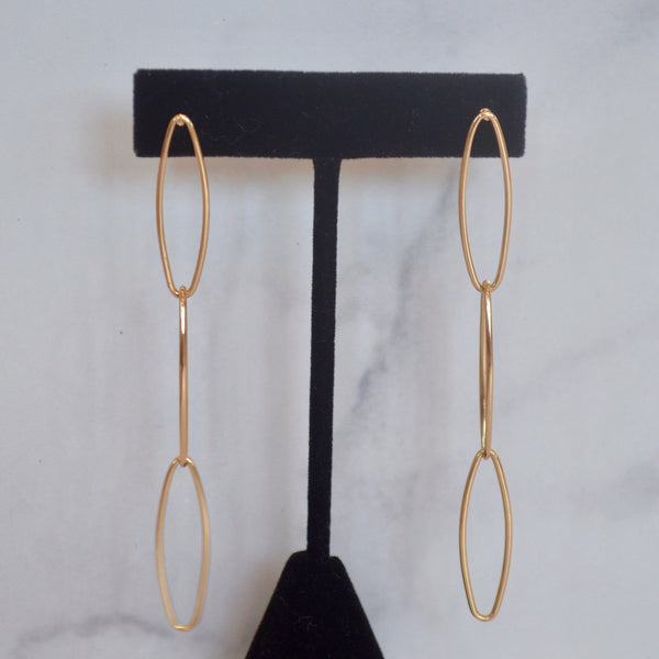 Gold Link Drop Earring