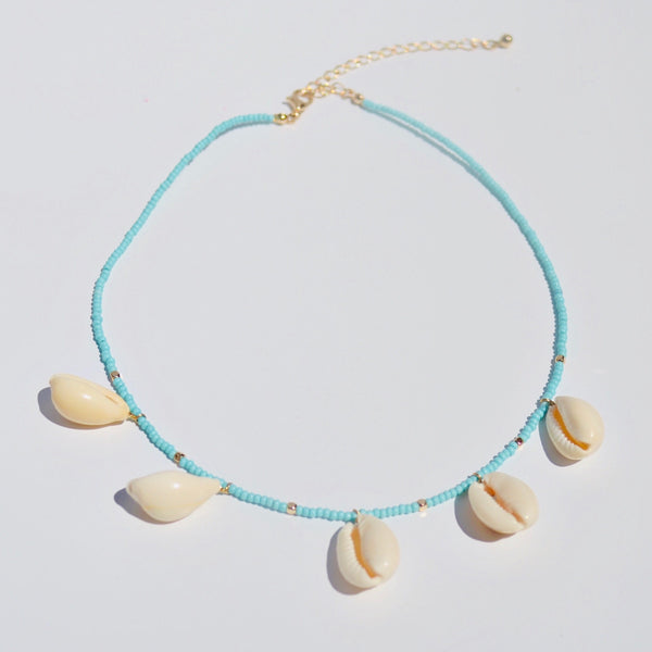 Seashells Necklace in Neutral and Turquoise
