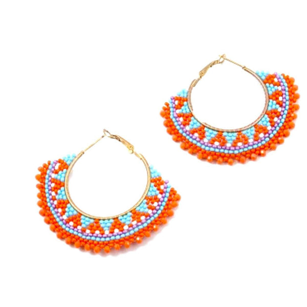 Trendy Orange Blue Bead Earrings