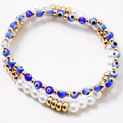 Evil Eye x Pearl Bracelet Set