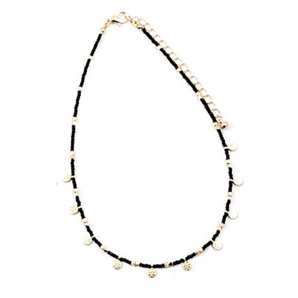 Black and Gold Multi Disc Choker Necklace