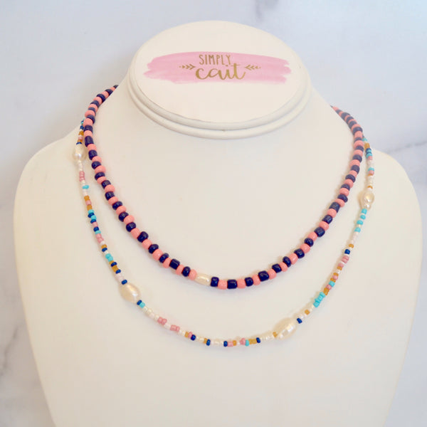 Double Layer Beaded Pearl Necklace (Coral)