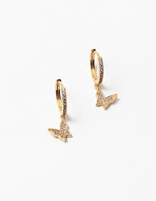 Mini 14k Gold Dangle Butterfly Earring