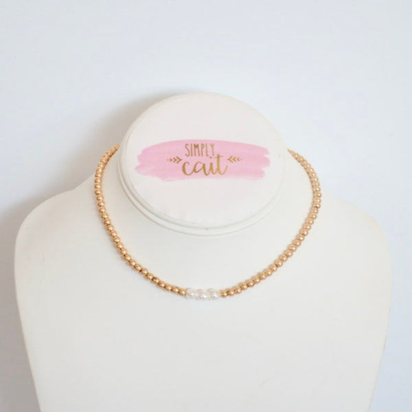 14K Gold Filled Seed Pearl Choker