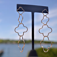 14K Gold Plated Drop Clover Earring