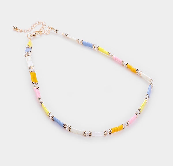 Multicolor Square Bead Choker