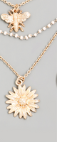 Gold Layered Sunflower x Bee Necklace
