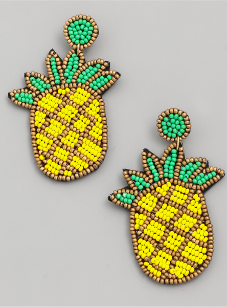 Seed Bead Pineapple Drop Earrings