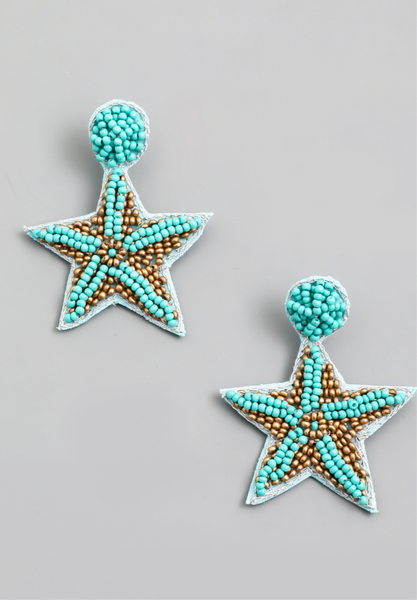 Seed Bead Starfish Drop Earring