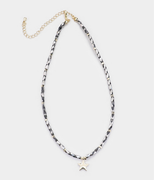 Platinum Square Bead Necklace with Gold Star