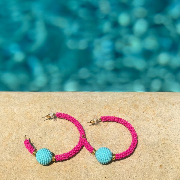Hot Pink & Turquoise Beaded Hoop