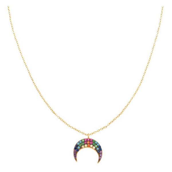 Rainbow Crescent Horn Necklace