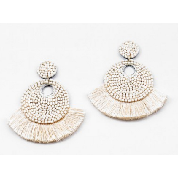 Mini Ivory Fringe Statement Earrings
