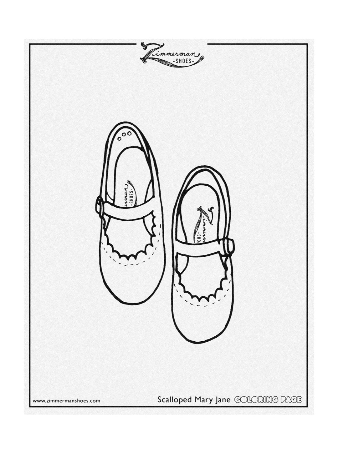 zimmerman shoes free coloring page scalloped mary jane