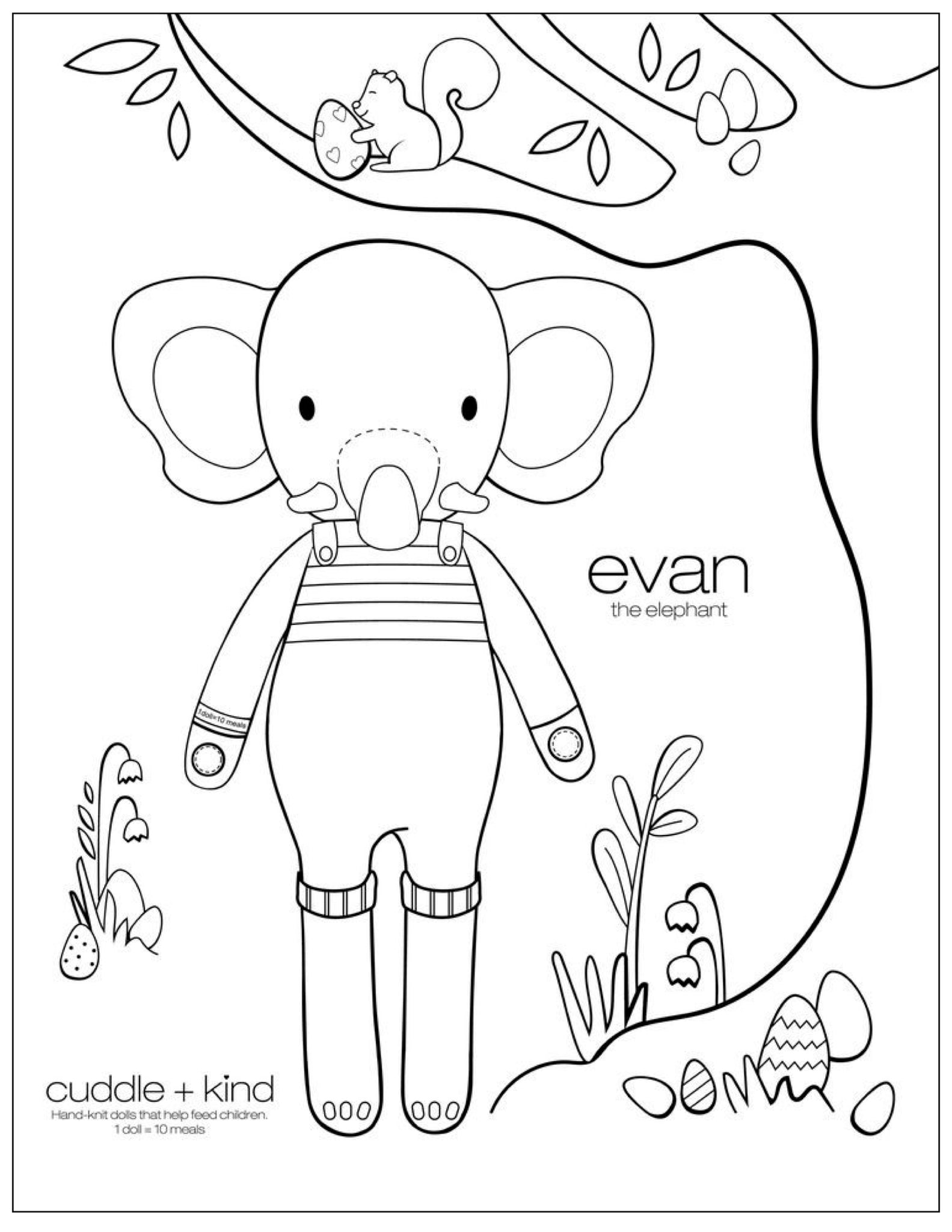 cuddle and kind evan the elephant coloring page