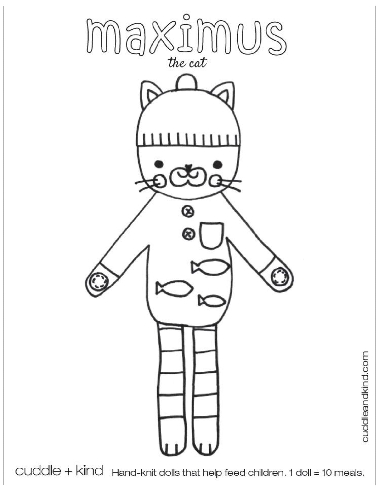 cuddle and kind maximus the cat free coloring page